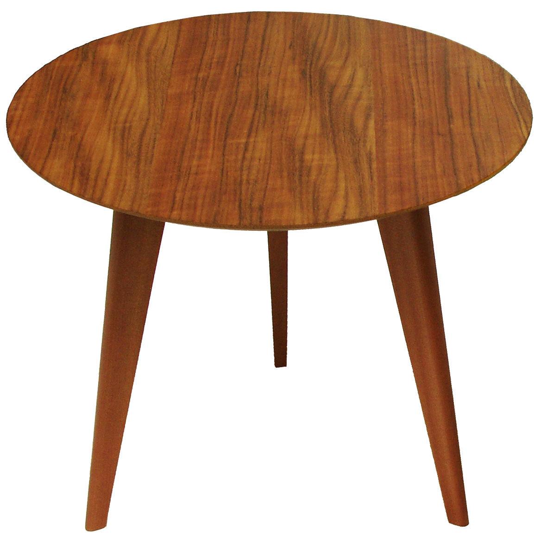 Mobilier - Tables basses - Table basse Lalinde Ronde / Large - Ø 55 cm - Sentou Edition - Teck / Pieds chêne - Chêne massif, MDF plaqué teck