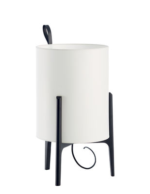 Lighting - Table Lamps - Greta Table lamp - / Ø 33 x H 58 cm by Carpyen - White / Black structure - Cotton, Tinted oak wood