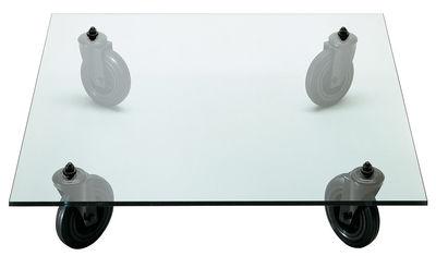 Arredamento - Tavolini  - Tavolino Gae Aulenti di Fontana Arte - 100 x 100 cm - Gomma, metallo verniciato, Vetro