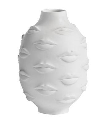 Interni - Vasi - Vaso Muse Round Gala / Porcellana - H 25 cm - Jonathan Adler - Bianco opaco - Porcellana bianca opaca
