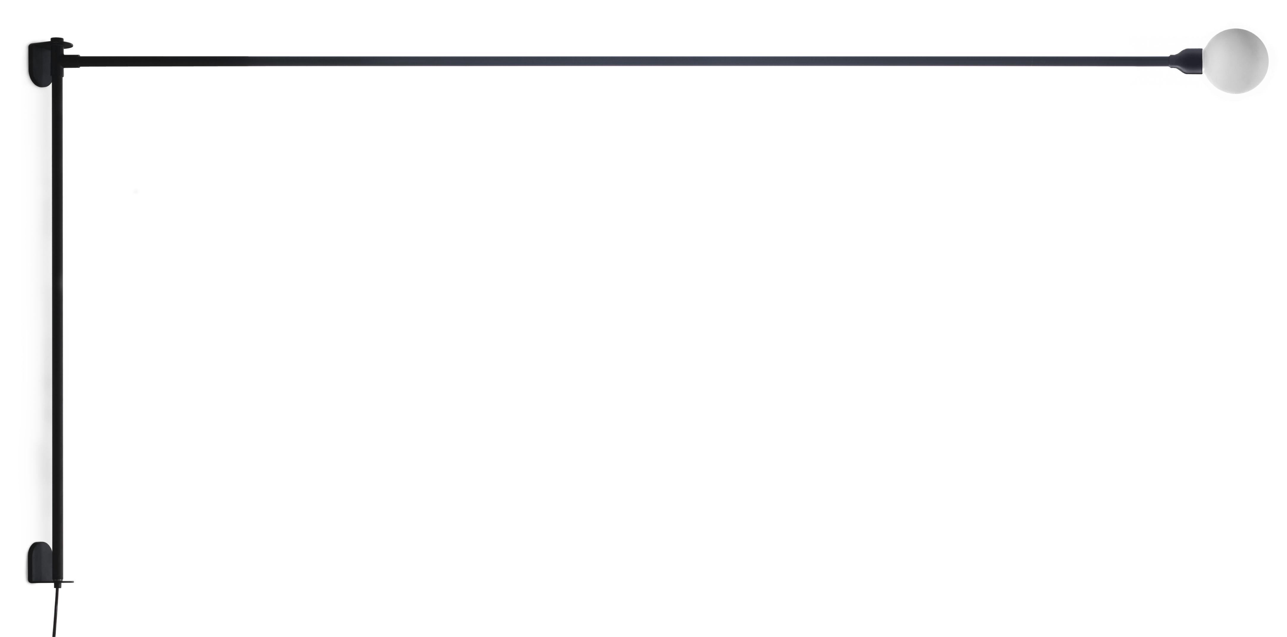 Luminaire - Appliques - Applique avec prise Potence pivotante by Charlotte Perriand / L 200 cm - Nemo - L 200 cm / Noir - Métal peint, Verre