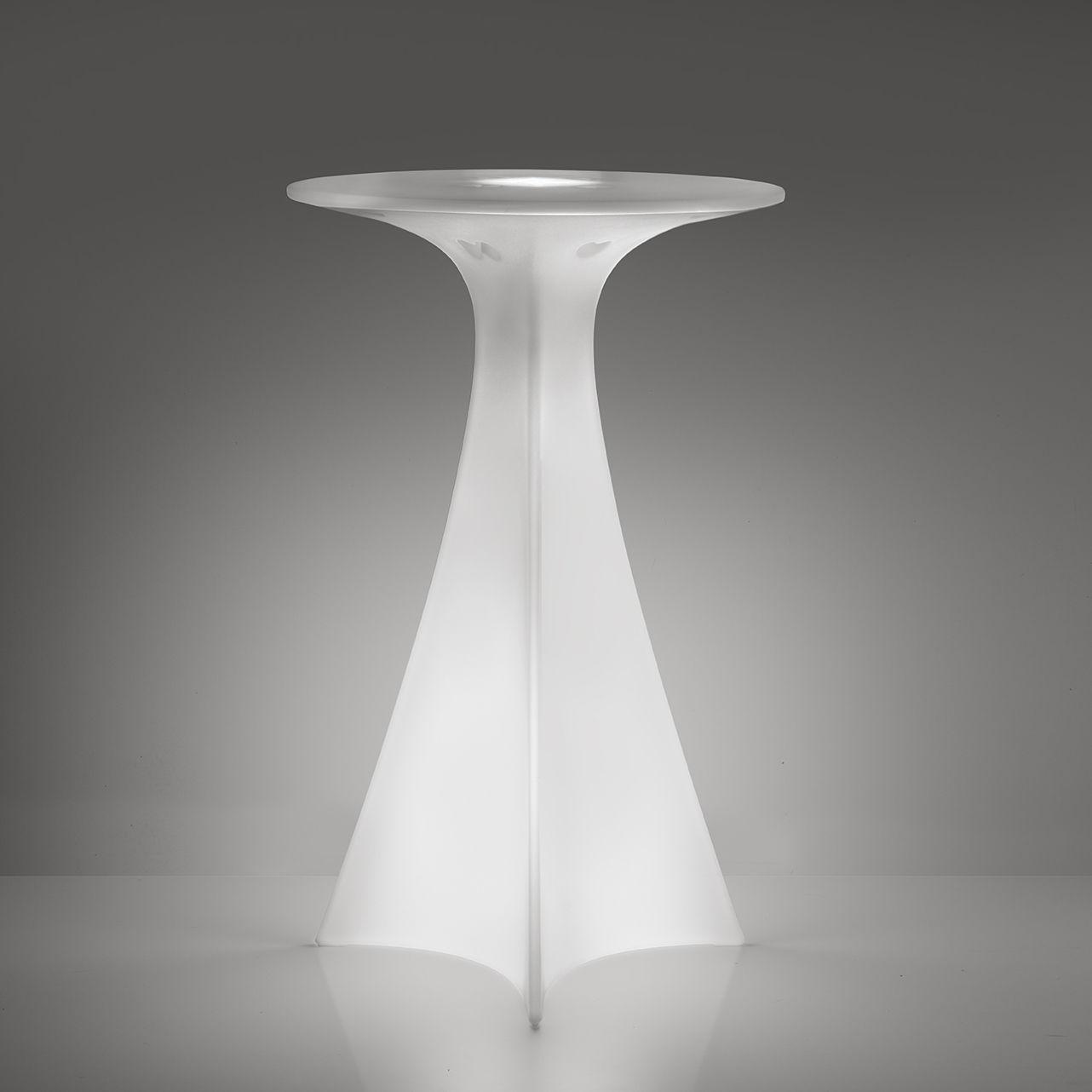Möbel - Stehtische und Bars - Jet beleuchteter Stehtisch / Ø 62 x H 100 cm - Slide - Weiß - recycelbares Polyethen