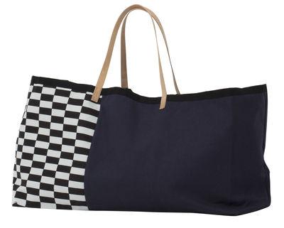 Cabas Herman / L 67 x H 39 cm - Coton & poignées cuir - Ferm Living blanc,noir,bleu marine en tissu