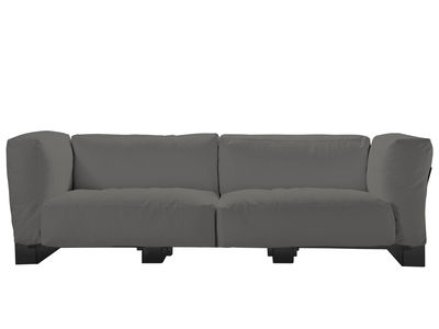 Canapé droit Pop Duo / structure noire - L 255 cm - Kartell gris en tissu