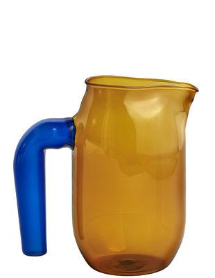 Carafe Jug Small / Ø 10 x H 16,5 cm - Hay bleu,ambre en verre