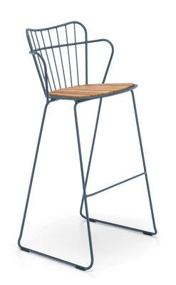 Chaise de bar Paon Métal bambou Houe bleu,bambou naturel en métal