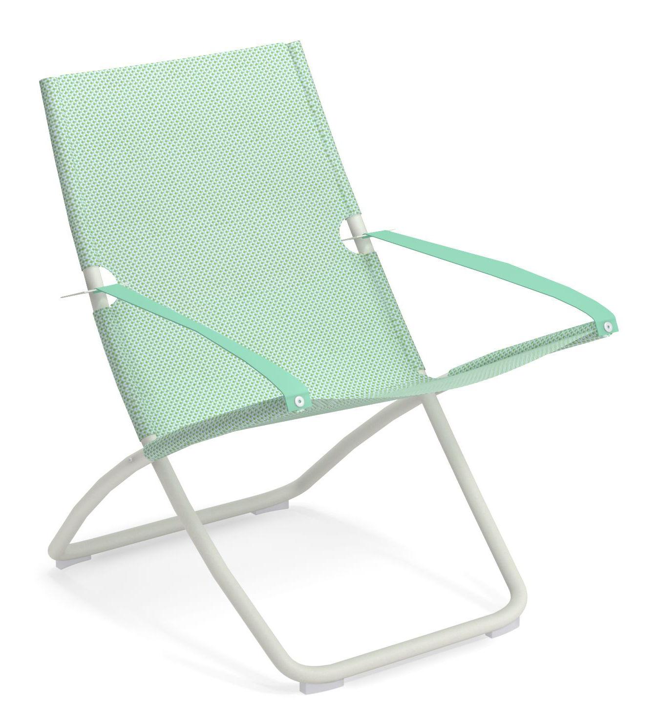 Outdoor - Chaises longues et hamacs - Chaise longue Snooze / Pliable - 2 positions - Emu - Citronnelle / Structure blanche - Acier verni, Tissu technique