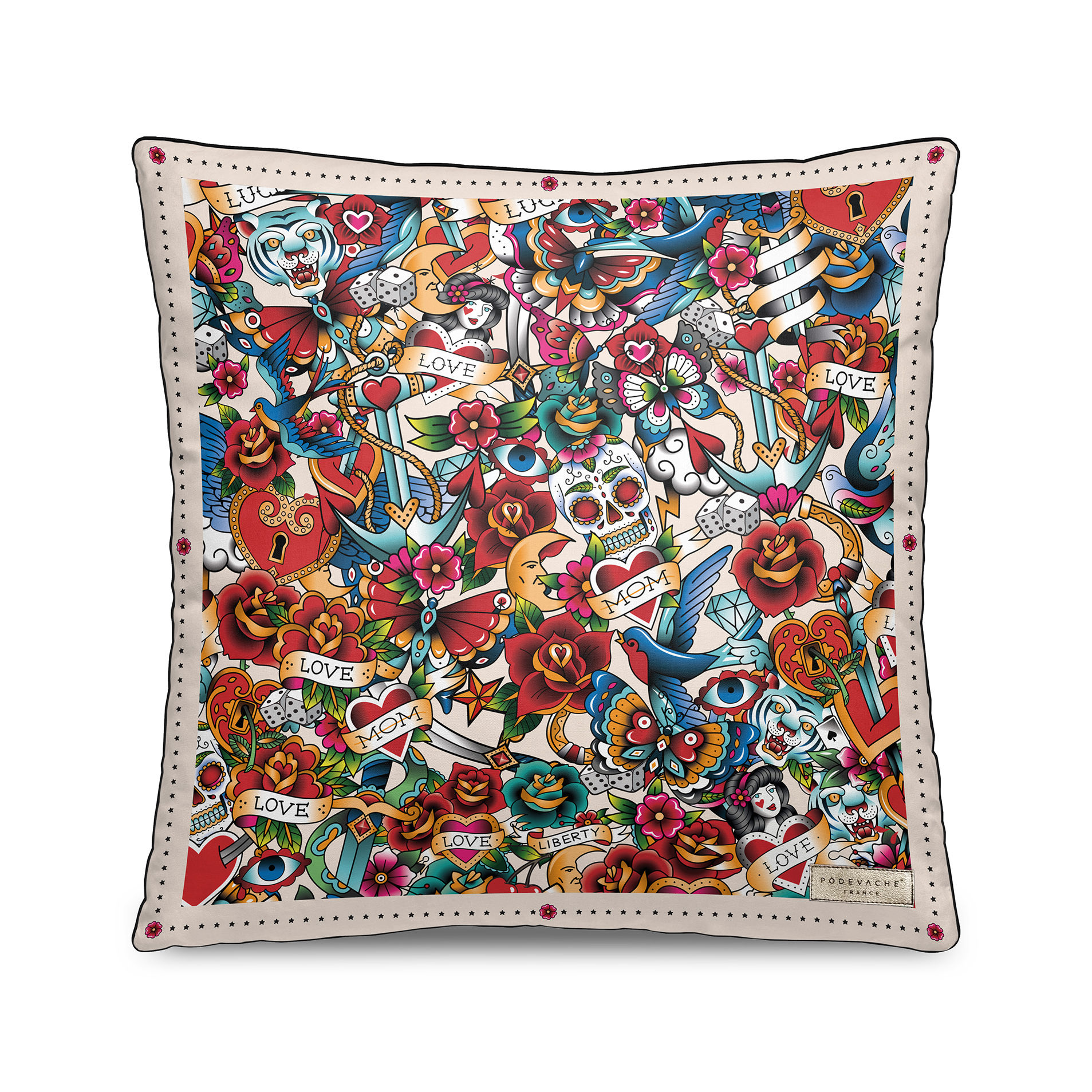 Déco - Coussins - Coussin Tatoo / Velours - 45 x 45 cm - PÔDEVACHE - Multi Tatoo / Multicolore - Polyester, Velours