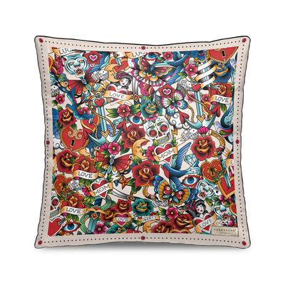 Image of Cuscino Tatoo - / Velluto - 45 x 45 cm di PÔDEVACHE - Multicolore - Tessuto