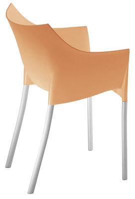 Mobilier - Chaises, fauteuils de salle à manger - Fauteuil empilable Dr. No / Plastique & pieds métal - Kartell - Orange - Aluminium, Polypropylène