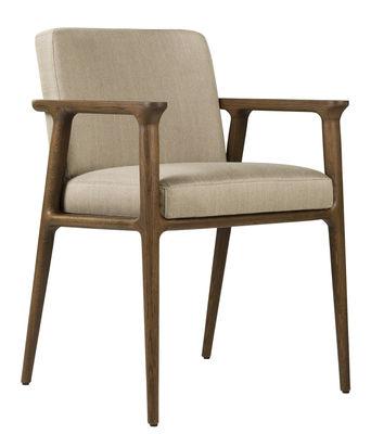 Mobilier - Chaises, fauteuils de salle à manger - Fauteuil rembourré Zio Dining - Moooi - Gravier - Chêne massif, Mousse, Tissu