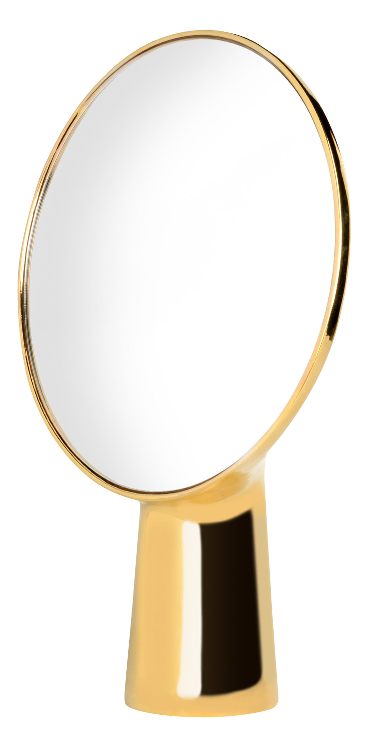 Decoration - Mirrors - Cyclope Free standing mirrors - H 46,5 cm by Moustache - Gold - Enamled terracotta