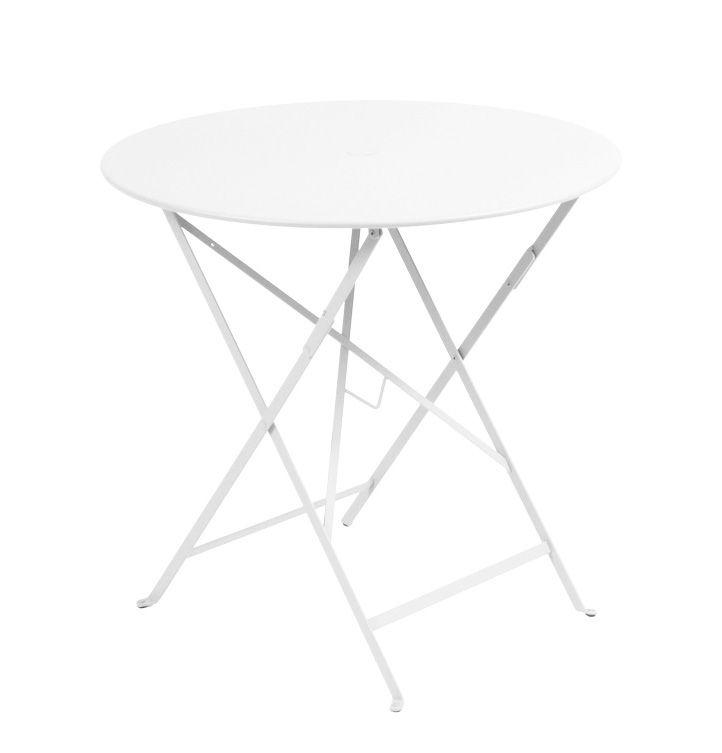 Outdoor - Tische - Bistro Klapptisch Ø 77cm - Klapptisch - Mit Loch für Sonnenschirm - Fermob - Baumwollweiß - lackierter Stahl
