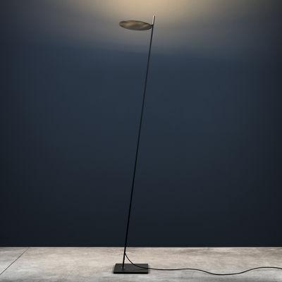 Luminaire - Lampadaires - Lampadaire Lederam F0 / LED - H 190 cm - Catellani & Smith - Disque laiton / Tige noire / base noire - Laiton massif, Métal peint