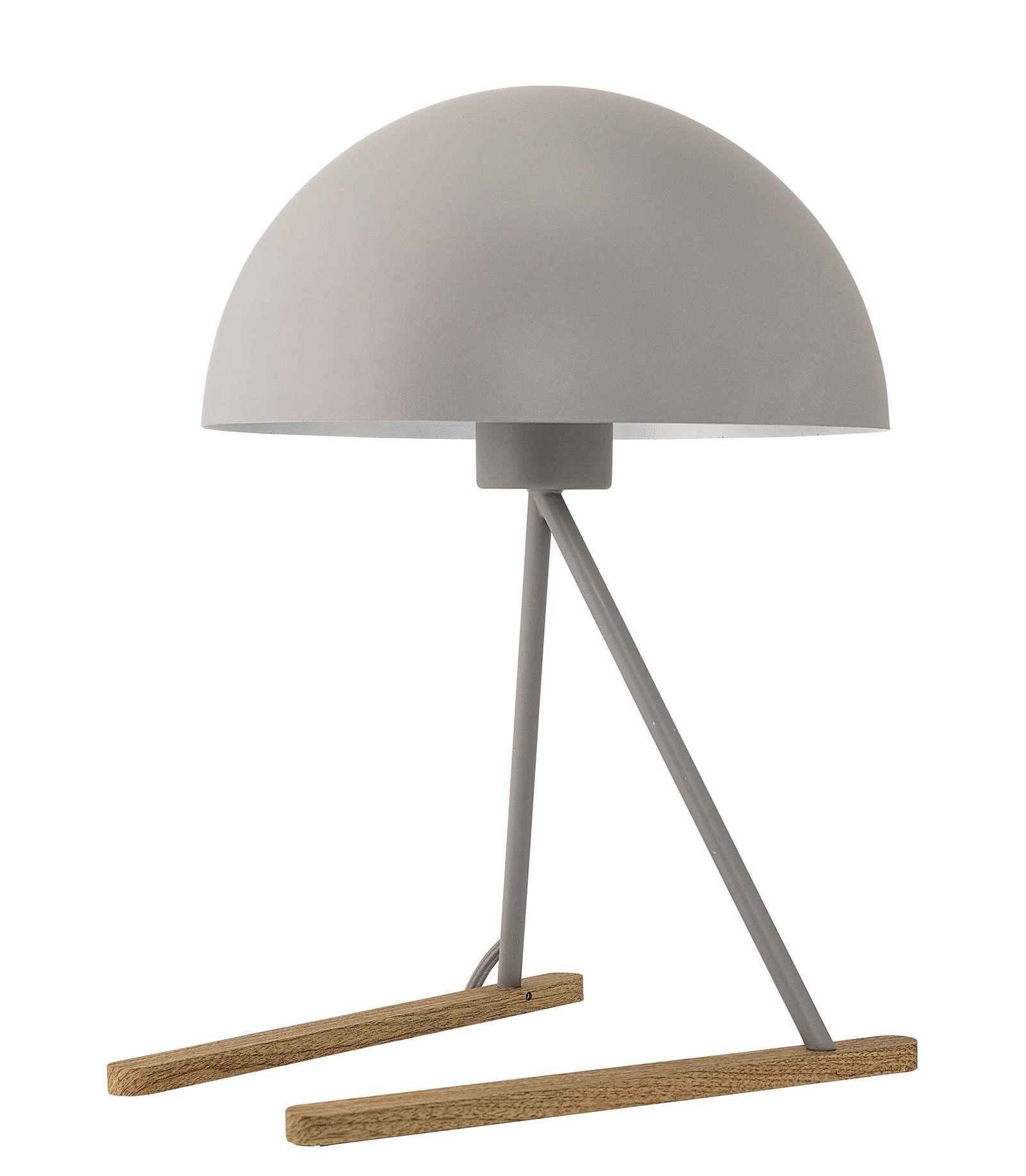 Luminaire - Lampes de table - Lampe de table / Métal & bois - Bloomingville - Gris / Pieds chêne - Chêne, Métal laqué