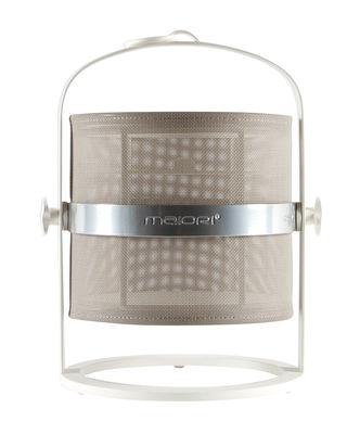 Lampe solaire La Lampe Petite LED / Hybride & connectée - Structure blanche - Maiori blanc,taupe clair en métal