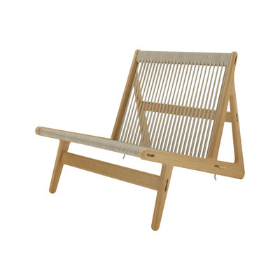 Möbel - Lounge Sessel - MR01 Initial Lounge-Sessel / Eiche & Seil - Gubi - Eiche / Seil beige - Kordel, massive Eiche