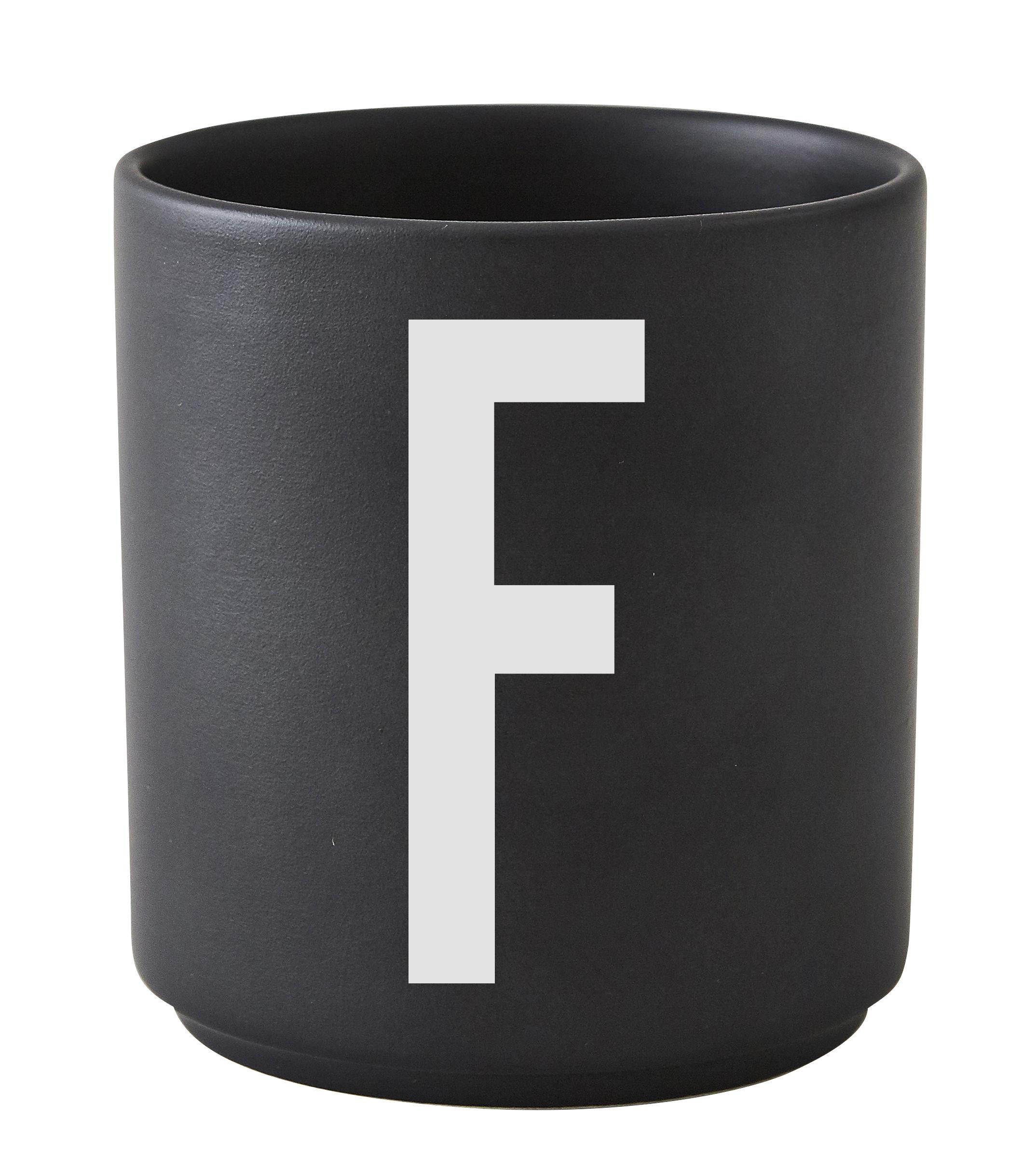 Arts de la table - Tasses et mugs - Mug Arne Jacobsen / Porcelaine - Lettre F - Design Letters - Noir / Lettre F - Porcelaine de Chine