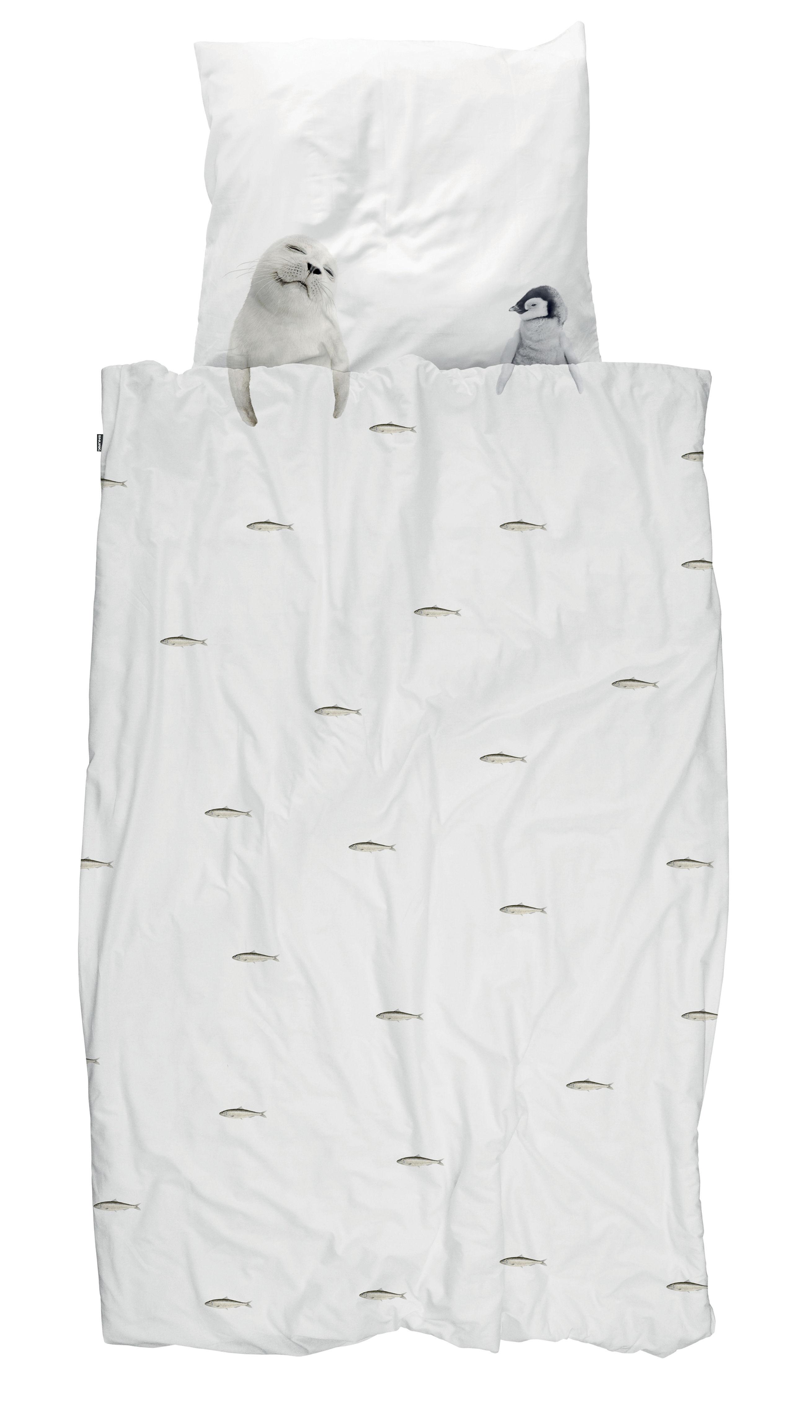 Déco - Pour les enfants - Parure de lit 1 personne Artic friends / 140 x 200 cm - Snurk - Animaux Arctique / Blanc & gris - Percale de coton