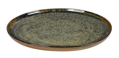 Tavola - Piatti  - Piatto da dessert Surface / Ø 24 cm - By Sergio Herman - Serax - Grigio - Verde Indou - Ceramica smaltata