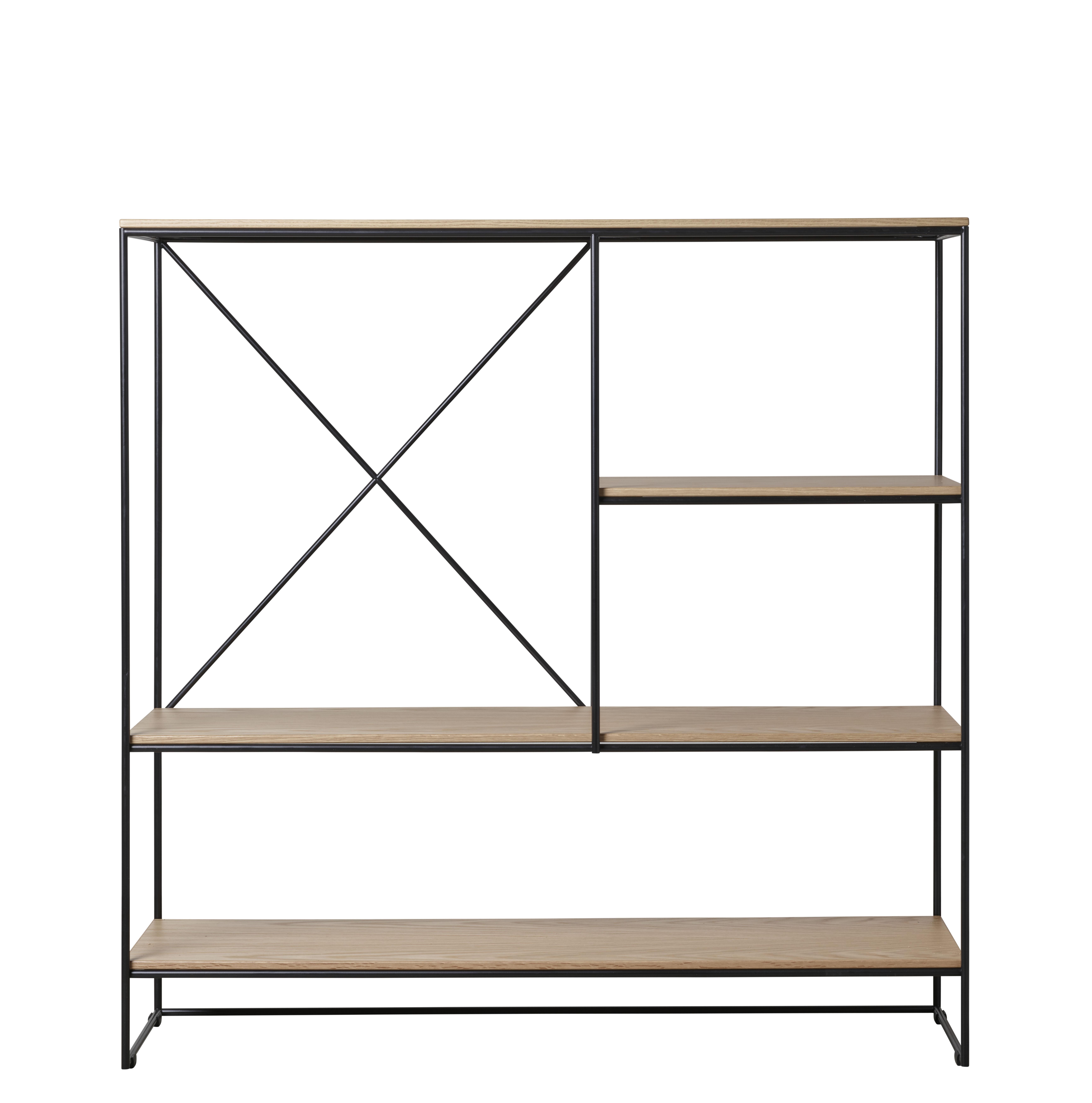 Möbel - Regale und Bücherregale - Planner Medium Regal / MC510 - L 121 x H 123 cm - Fritz Hansen - Eiche / Schwarz - Beschichteter Stahl, massive Eiche