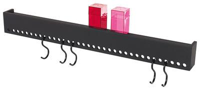 Möbel - Regale und Bücherregale - So Hooked Regal / Garderobe - mit 5 Haken - Nomess - Schwarz - Holzfaserplatte, Stahl