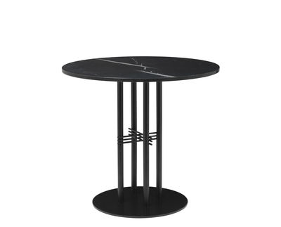 Furniture - Dining Tables - TS Column Round table - /Gamfratesi - Ø 80 x H 72 cm by Gubi - Black Marble/Black legs - Lacquered metal, Marquina marble