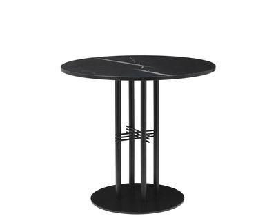 Möbel - Tische - TS Column Runder Tisch / Gamfratesi - Ø 80 cm x H 72 cm - Gubi - Schwarzer Marmor / Fußgestell schwarz - lackiertes Metall, Marbre Marquina
