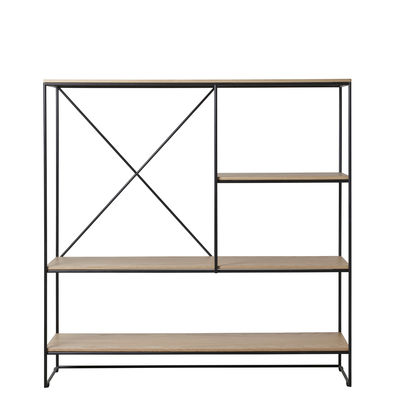 Furniture - Bookcases & Bookshelves - Planner Medium Shelf - / MC510 - L 121 x H 123 cm by Fritz Hansen - Oak / Black - Powder-coated steel, Solid oak