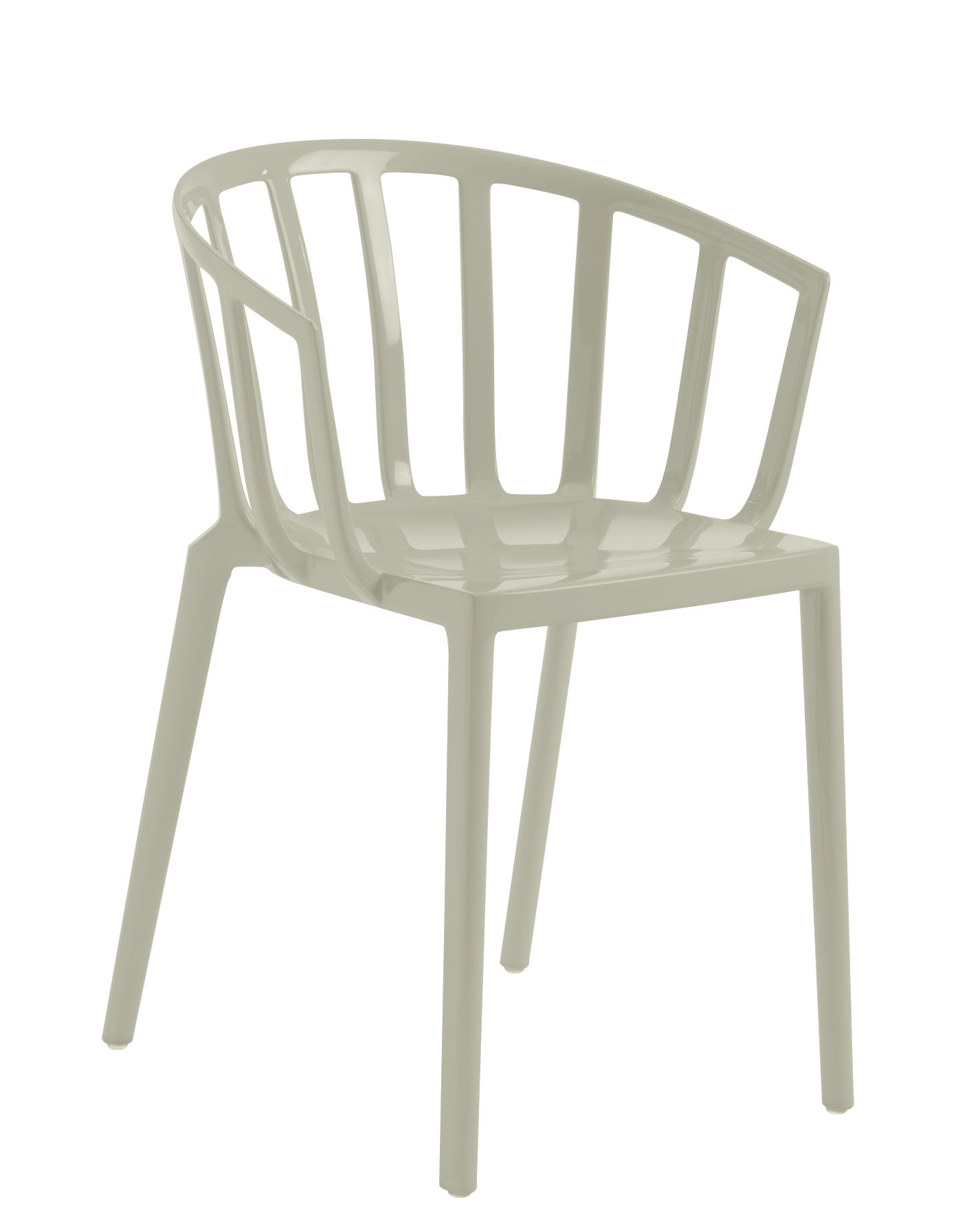 Furniture - Chairs - Generic AC Venice Stackable armchair - / Polycarbonate by Kartell - Grey - Polycarbonate