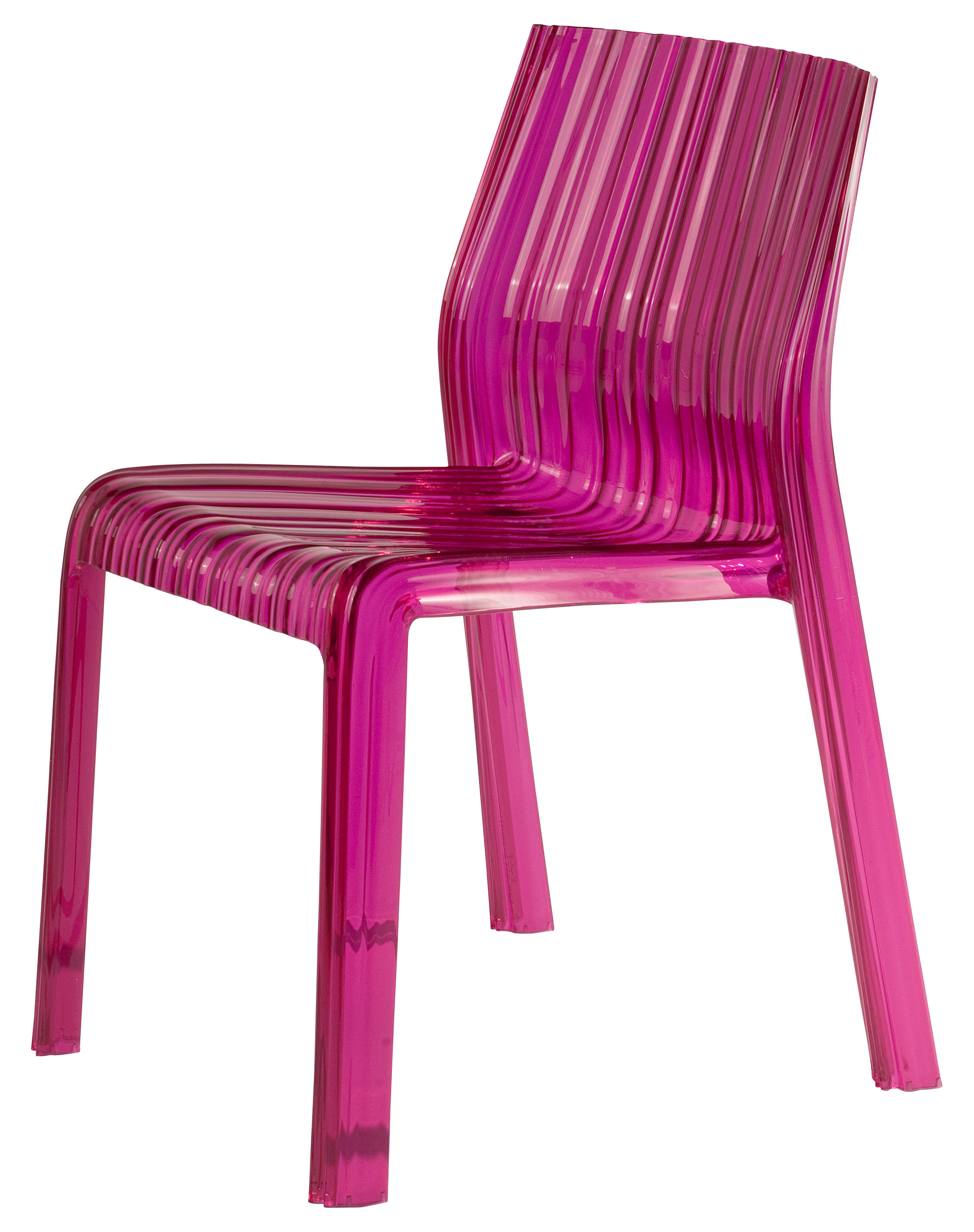 Furniture - Chairs - Frilly Stacking chair - Polycarbonate by Kartell - Transparent fuchsia - Polycarbonate