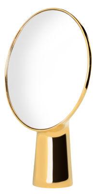 Dekoration - Spiegel - Cyclope Stellspiegel / zum Aufstellen - H 46,5 cm - Moustache - Goldfarben - emailliertes Terrakotta