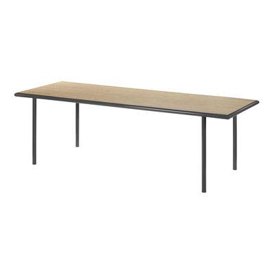 Mobilier - Tables - Table rectangulaire Wooden / 240 x 85 cm - Chêne & acier - valerie objects - Noir / Chêne - Acier, Chêne