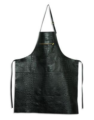 Tablier cuir effet croco / Poche zippée - Dutchdeluxes noir en cuir