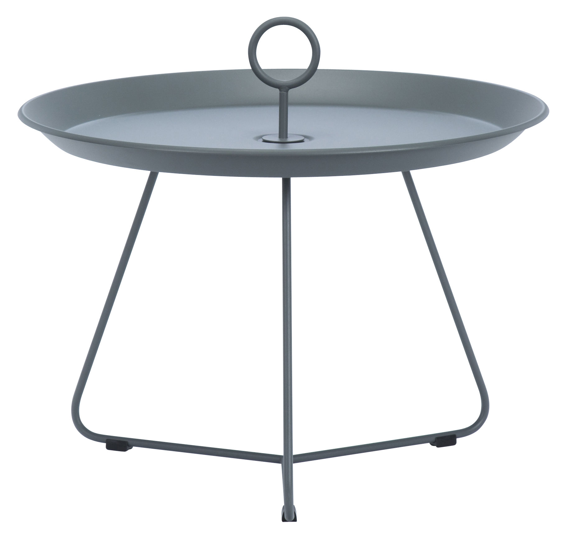Arredamento - Tavolini  - Tavolino basso Eyelet Medium / Ø 60 x H 43,5 cm - Houe - Grigio scuro - Metallo rivestito in resina epossidica