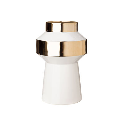 Decoration - Vases - Object Medium Vase - / Ø 24.5 x H 38 cm - Porcelain by Pols Potten - Medium / White & gold - China