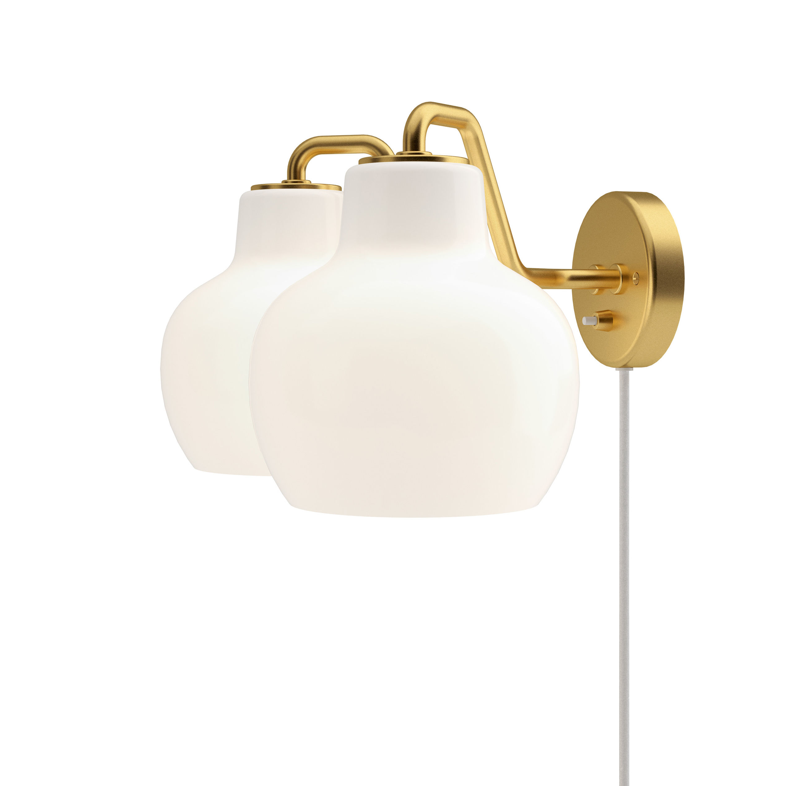 Lighting - Wall Lights - VL Ring Crown Wall light with plug - / 2 lampshades by Louis Poulsen - White / Brass - Brass, Mouth blown glass