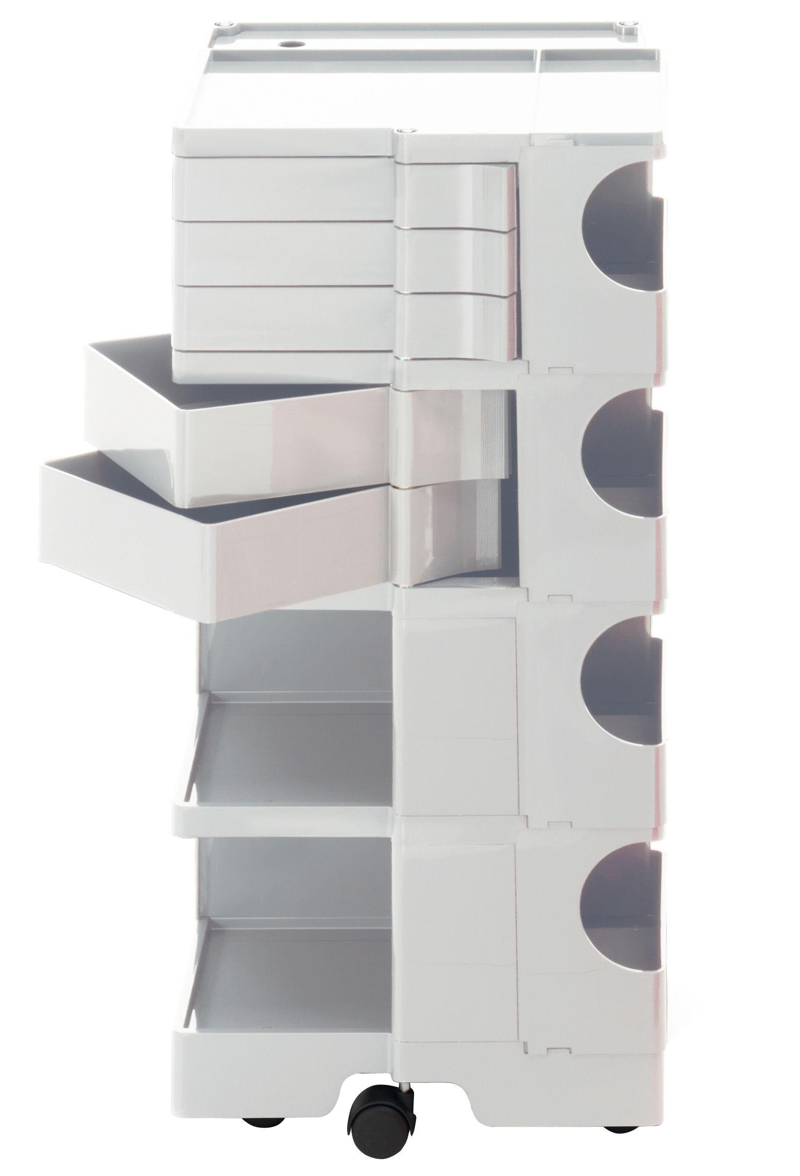 Möbel - Beistell-Möbel - Boby Ablage / H 94 cm - 5 Schubladen - B-LINE - Weiß - ABS