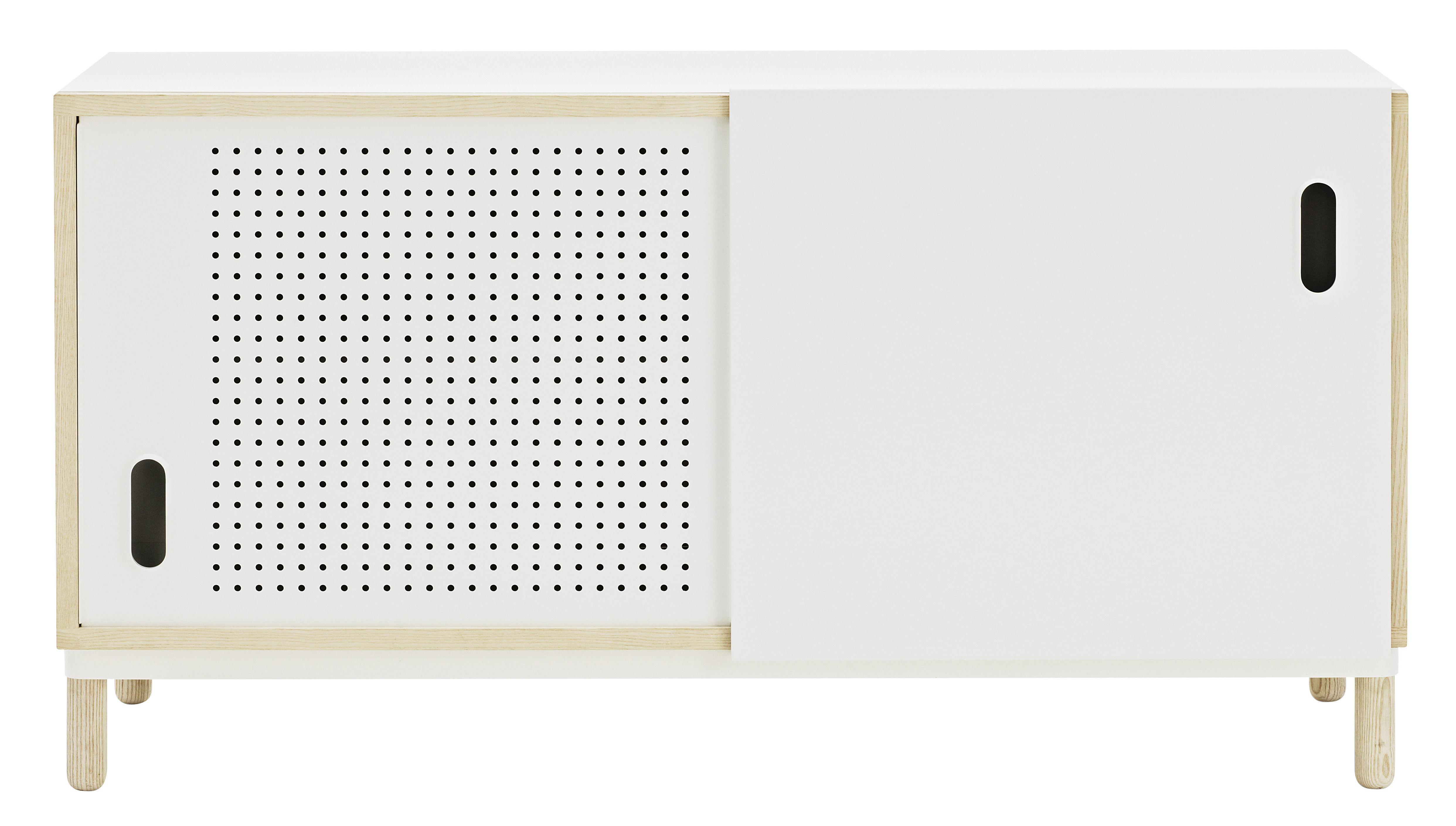 Möbel - Kommode und Anrichte - Kabino Anrichte / L 114 cm - Normann Copenhagen - Weiß - Esche, Holzfaserplatte, lackiertes Aluminium