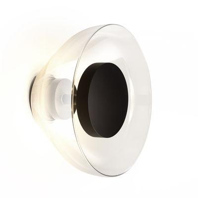 Luminaire - Appliques - Applique Aura LED / Verre - Ø 18 cm - Marset - Transparent / Disque noir - Aluminium laqué, Verre soufflé