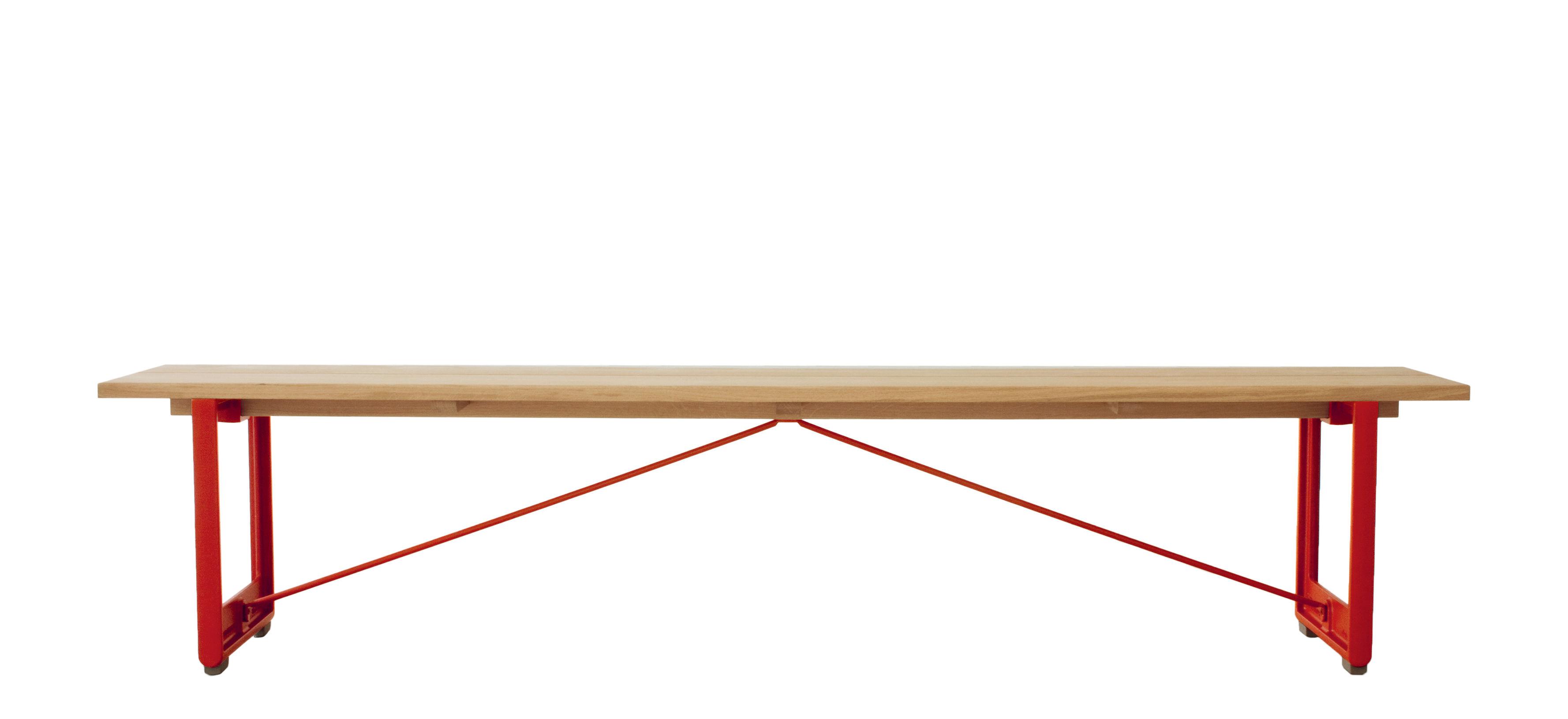 Möbel - Bänke - Brut Bank / Holz & Gusseisen - L 220 cm - Magis - Rot / Eiche - Lackiertes Gusseisen, massive Eiche