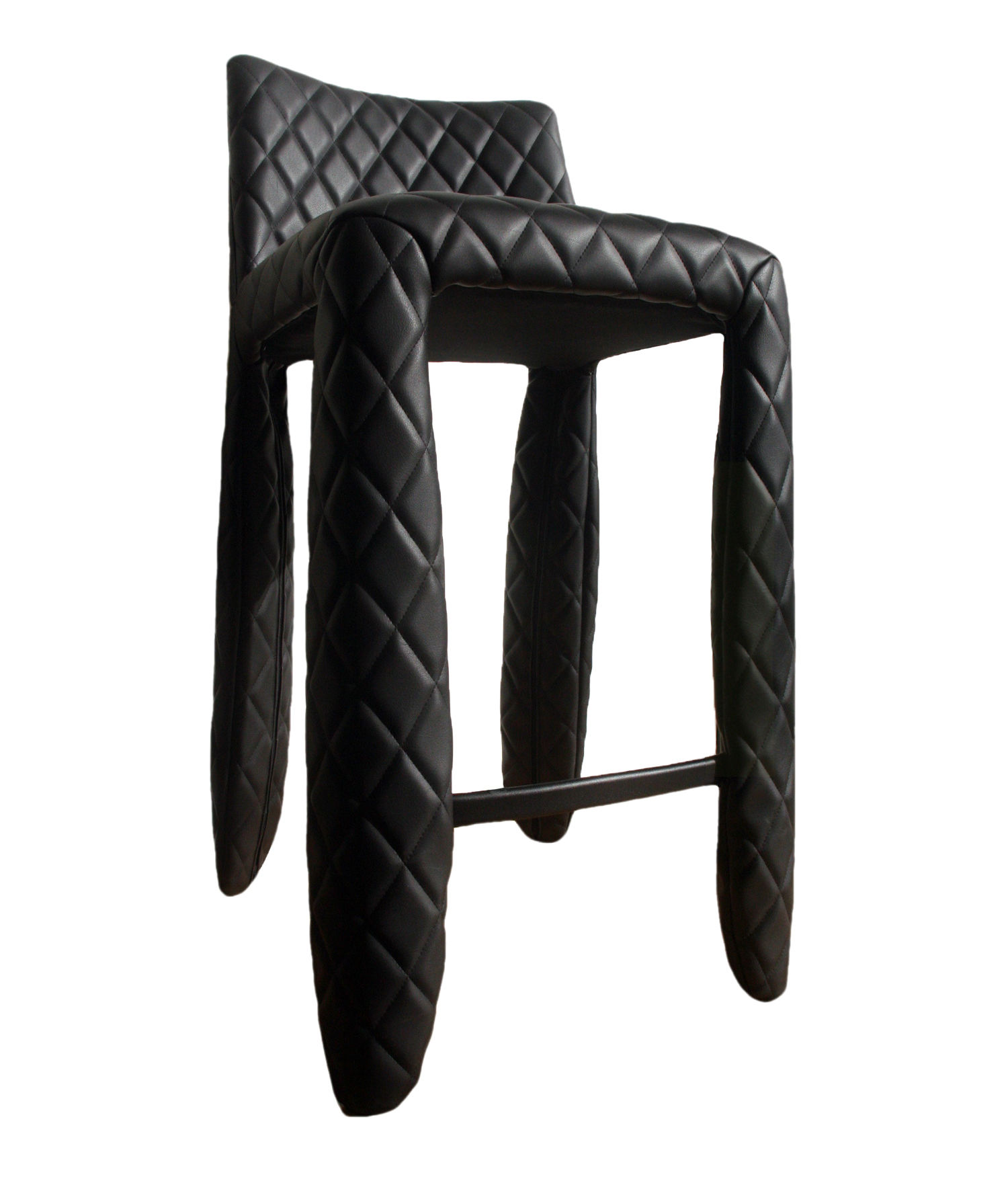 Furniture - Bar Stools - Monster Bar chair - H 66 cm - Leather by Moooi - Black - Steel, Synthetic leather