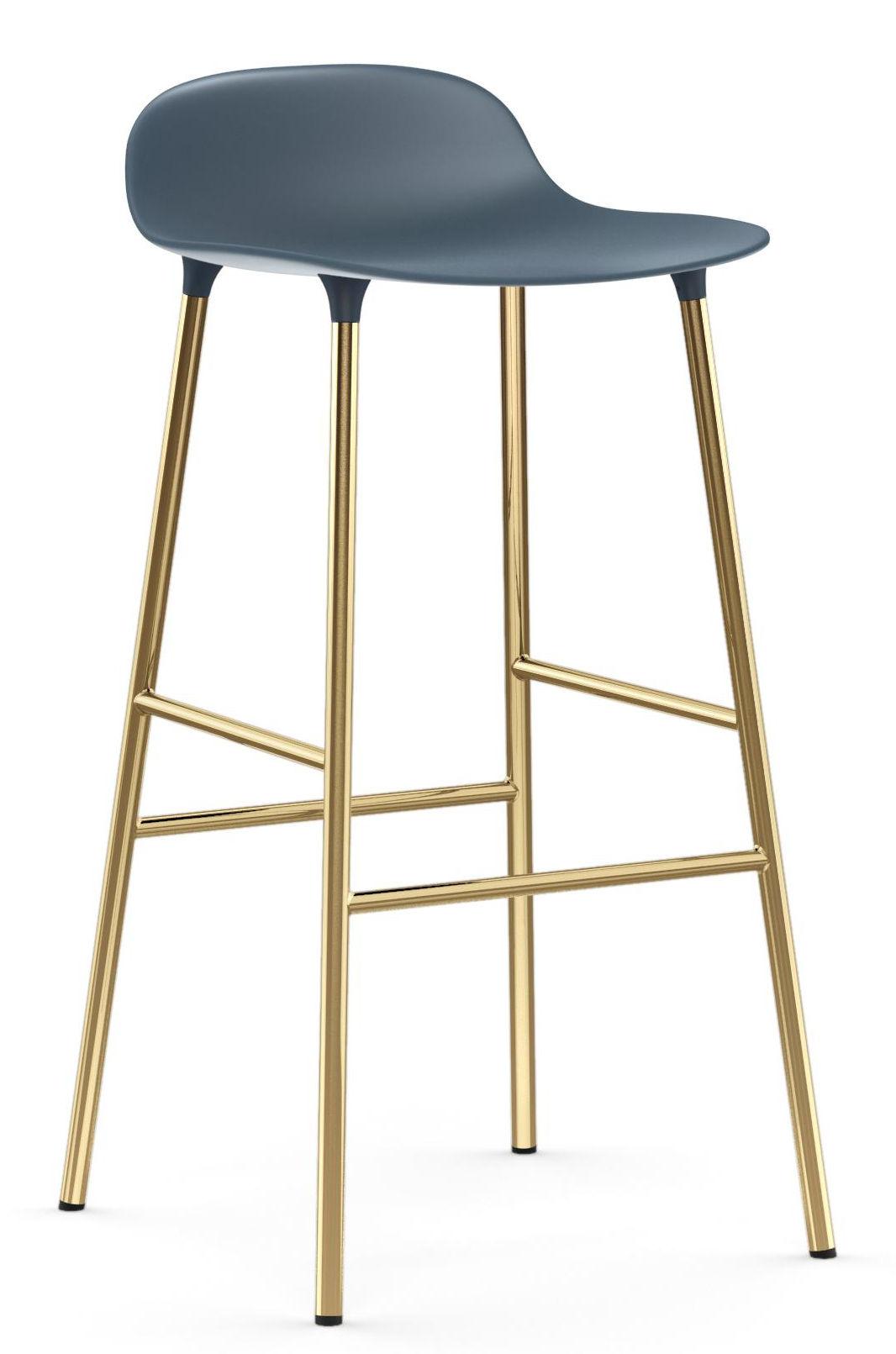 Furniture - Bar Stools - Form Bar stool - / H 75 cm – Brass foot by Normann Copenhagen - Blue / Brass - Brass plated steel, Polypropylene
