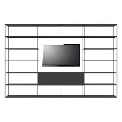 Mobilier - Etagères & bibliothèques - Bibliothèque Easy Irony TV /Compo G - L 352 x H 226 cm - Zeus - Noir cuivré sablé - Acier