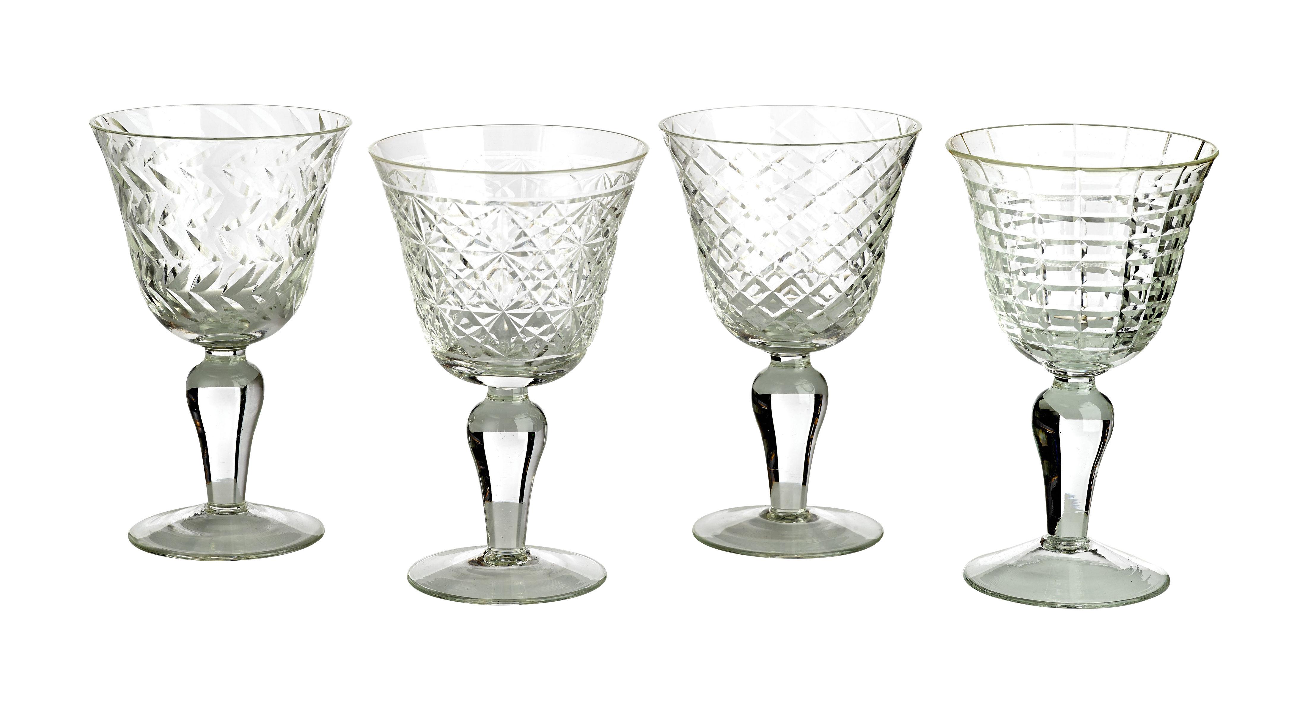 Tavola - Bicchieri  - Bicchiere da vino Cuttings / Set da 4 - Motivi in rilievo - Pols Potten - Trasparente - Verre ciselé