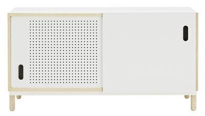 Mobilier - Commodes, buffets & armoires - Buffet Kabino / Meuble TV - L 114 cm - Normann Copenhagen - Blanc & frêne - Aluminium laqué, Frêne, MDF