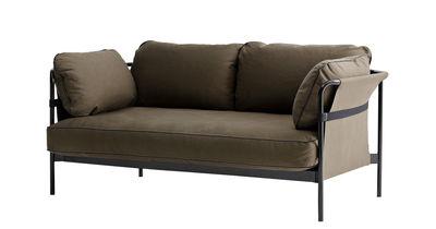 Canapé droit Can / 2 places - L 172 cm - Hay noir,kaki en métal