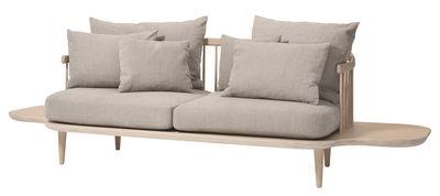 Canapé droit FLY 2 places L 240 cm tradition gris clair,bois blanchi en tissu