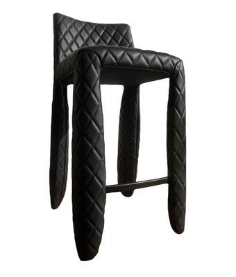 Mobilier - Tabourets de bar - Chaise de bar Monster / H 66 cm - Cuir - Moooi - Noir - Acier, Cuir synthétique