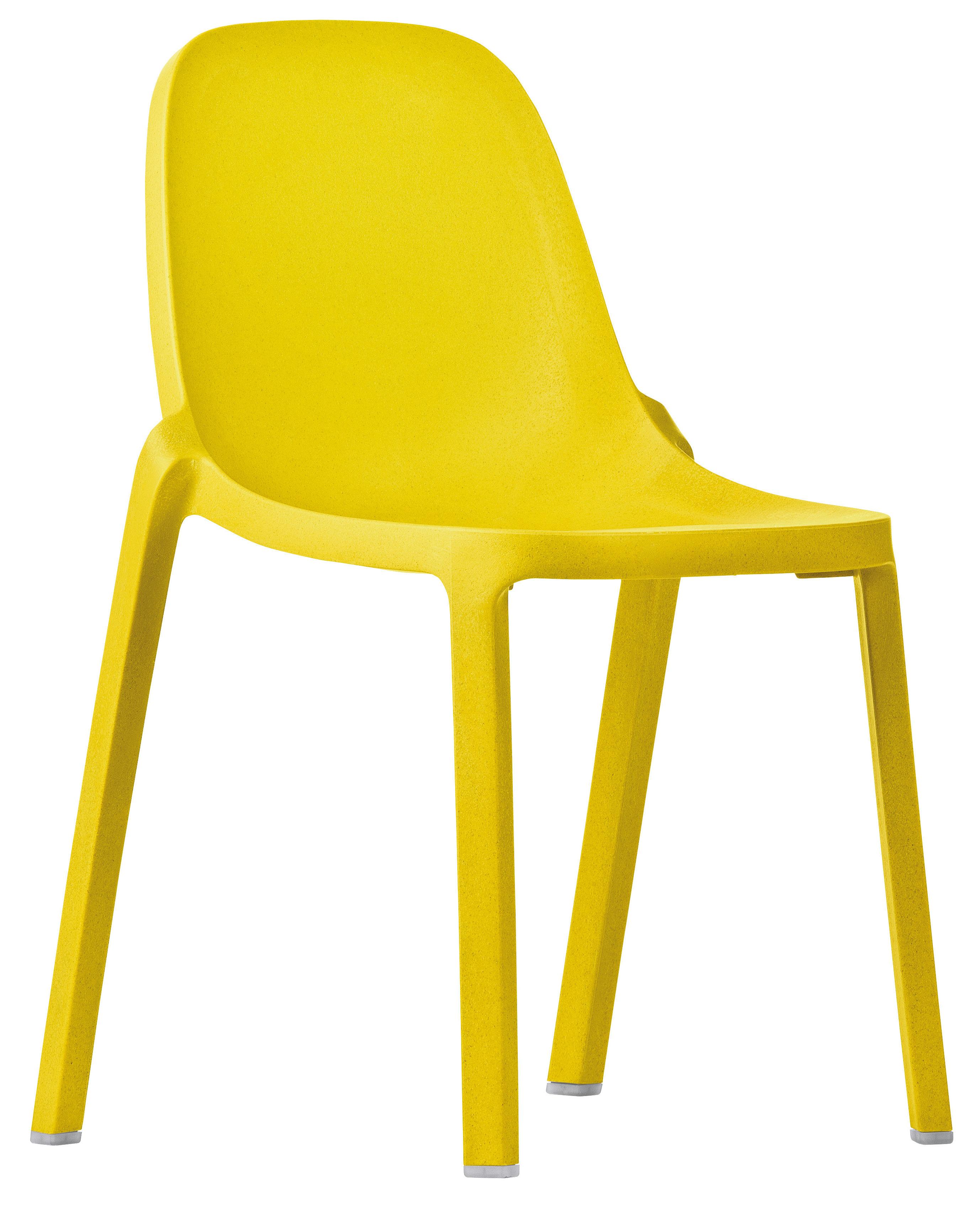 Mobilier - Chaises, fauteuils de salle à manger - Chaise empilable Broom / Plastique recyclé - Emeco - Jaune - Matériau composite recyclé